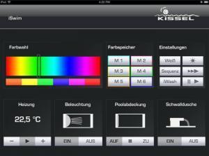 Kissel iSwim Farbauswahl bei RGB-Scheinwerfern